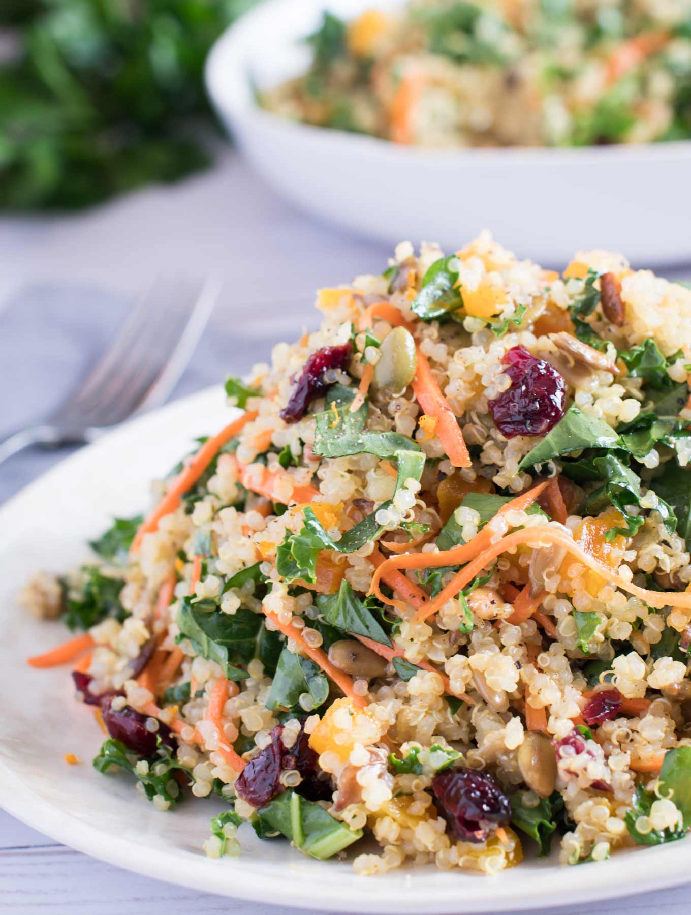 A winter kale and quinoa salad on a white plate.