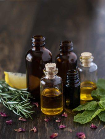 Essential Oils Amber jars vials Rosemary lemon mint rose