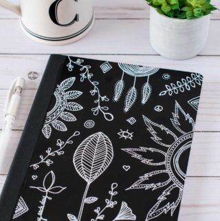 Black & white DIY art journal cover