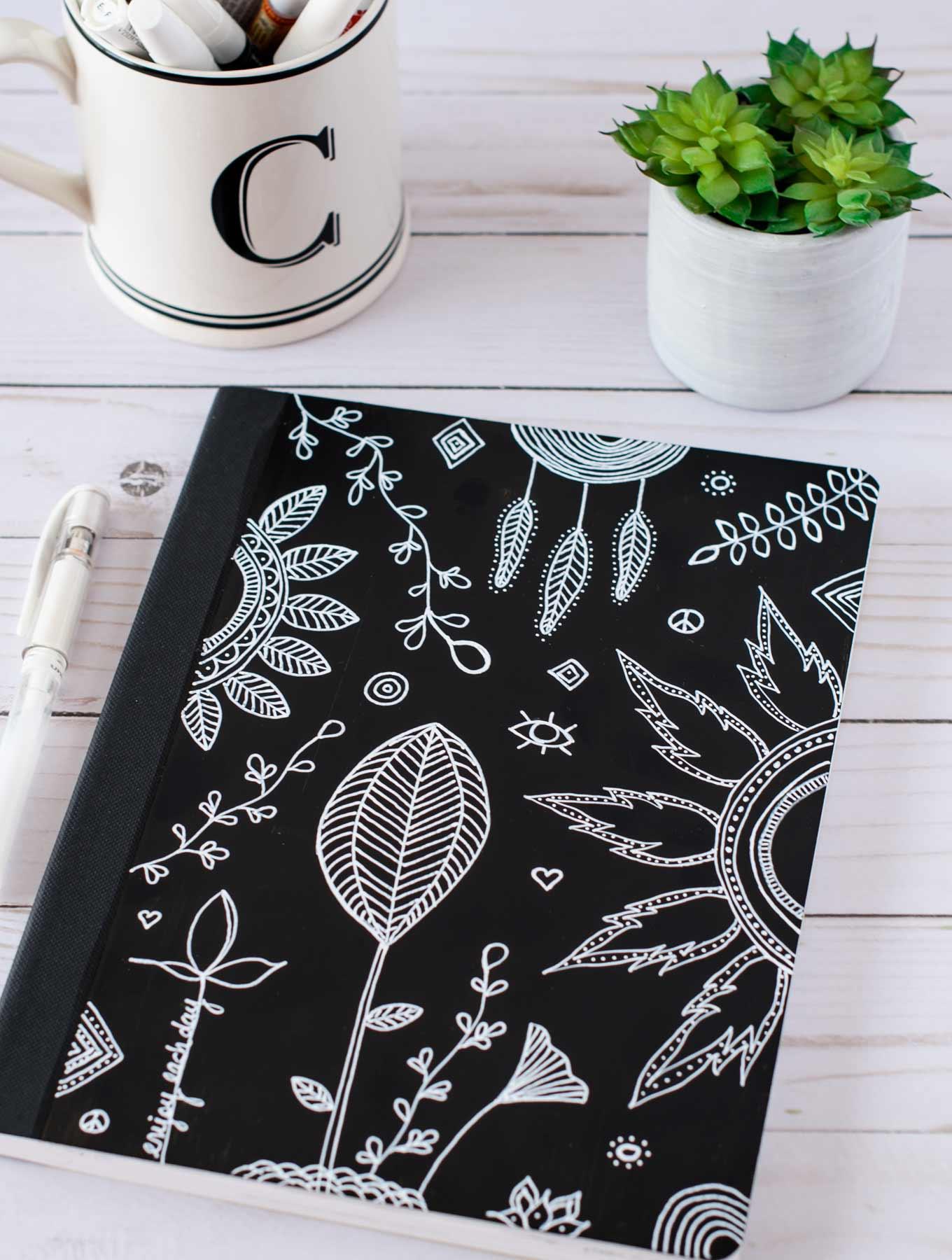 Black & white DIY art journal cover