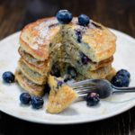 Stack of Gluten Free Lemon Blueberry Pancakes