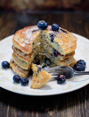 Stack of Gluten Free Lemon Blueberry Pancakes
