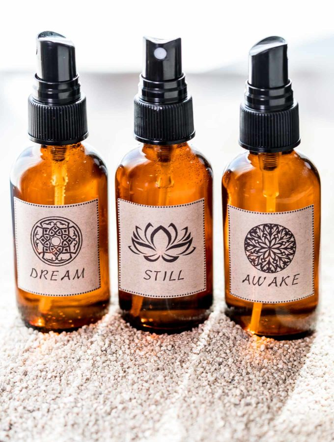Three DIY Essential Oil Aroma Sprays in Amber bottles