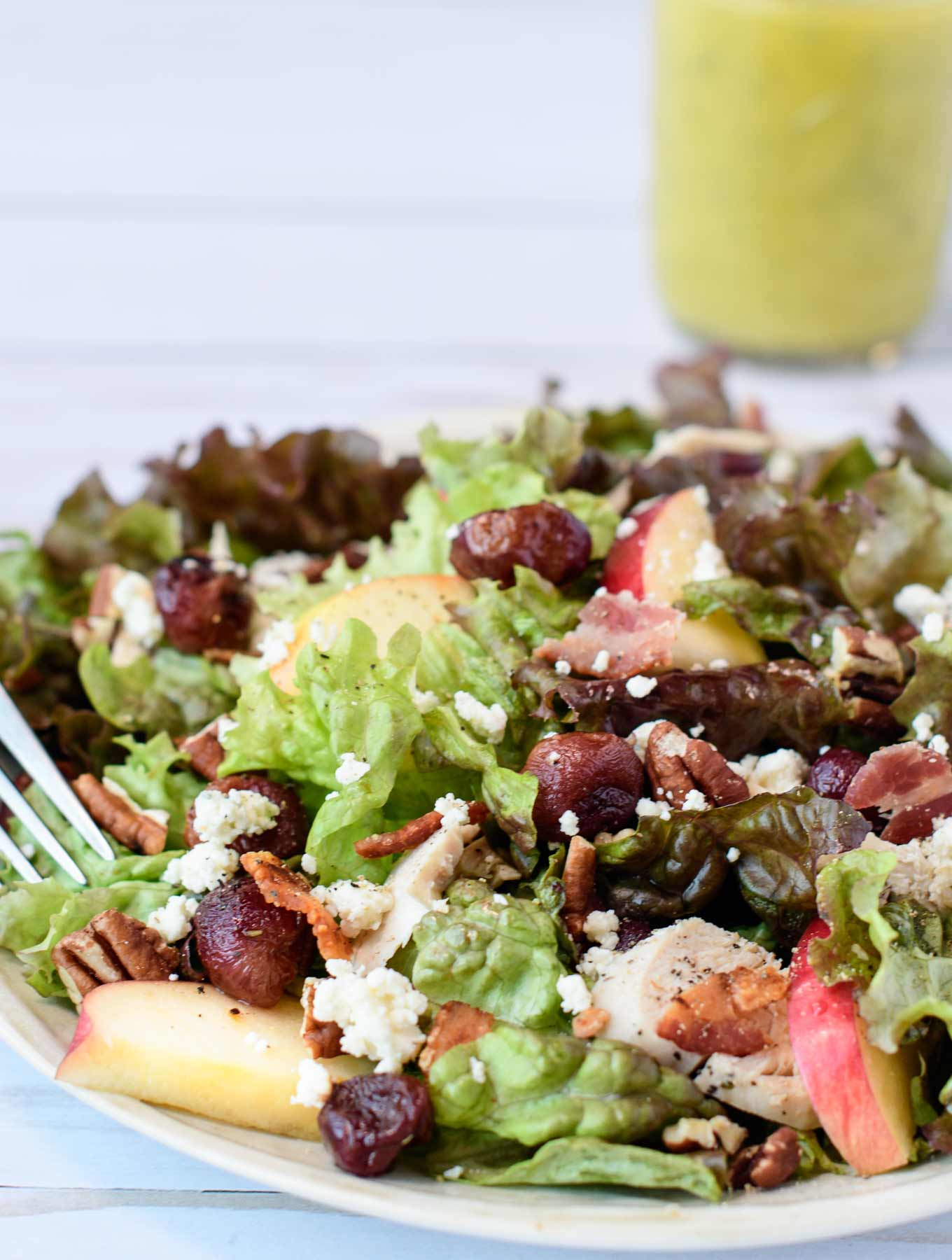 Roasted grape salad with blue cheese crumbles