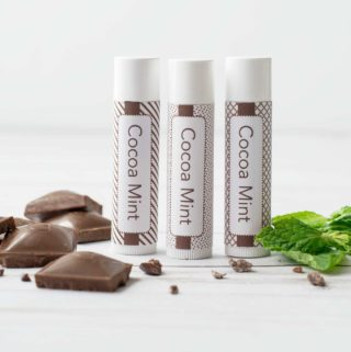 Three tubes of home made cocoa mint lip balm