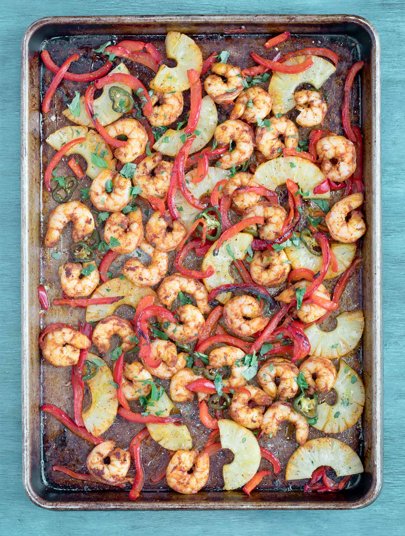 Tray of Shrimp, peppers and pineapple