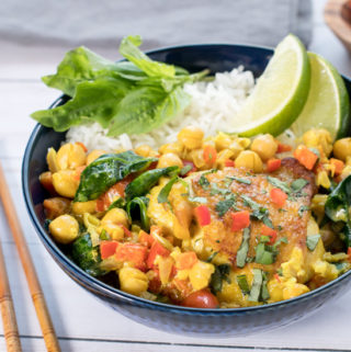 Bowl of coconut curry chicken and rice