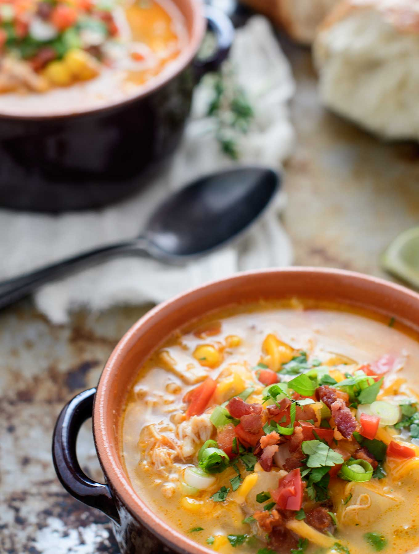 Two bowls of Southwest Corn Chowder