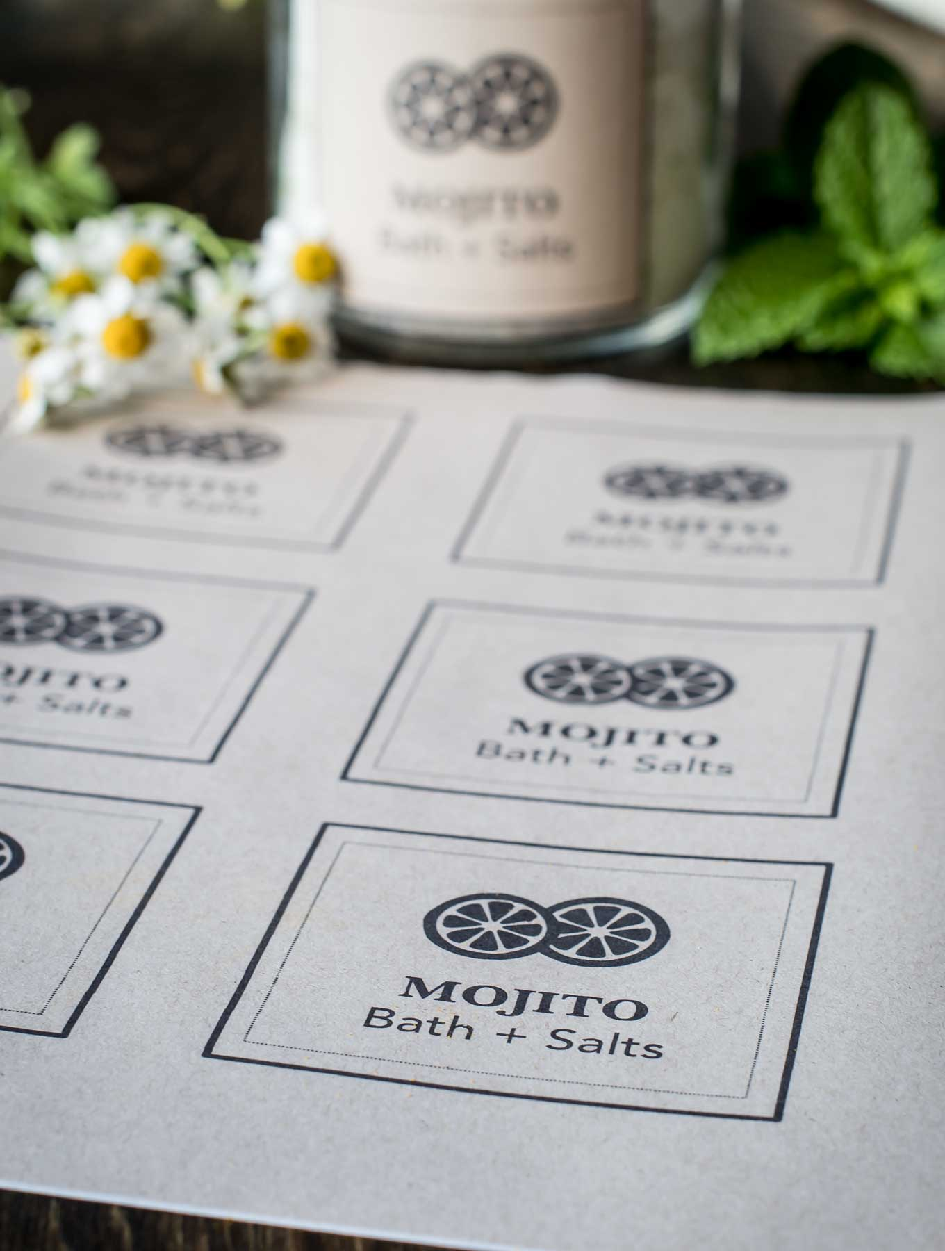 DIY Mojito Bath Salts Printable Labels