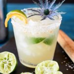 Brazilian margarita with citrus salt and muddled limes