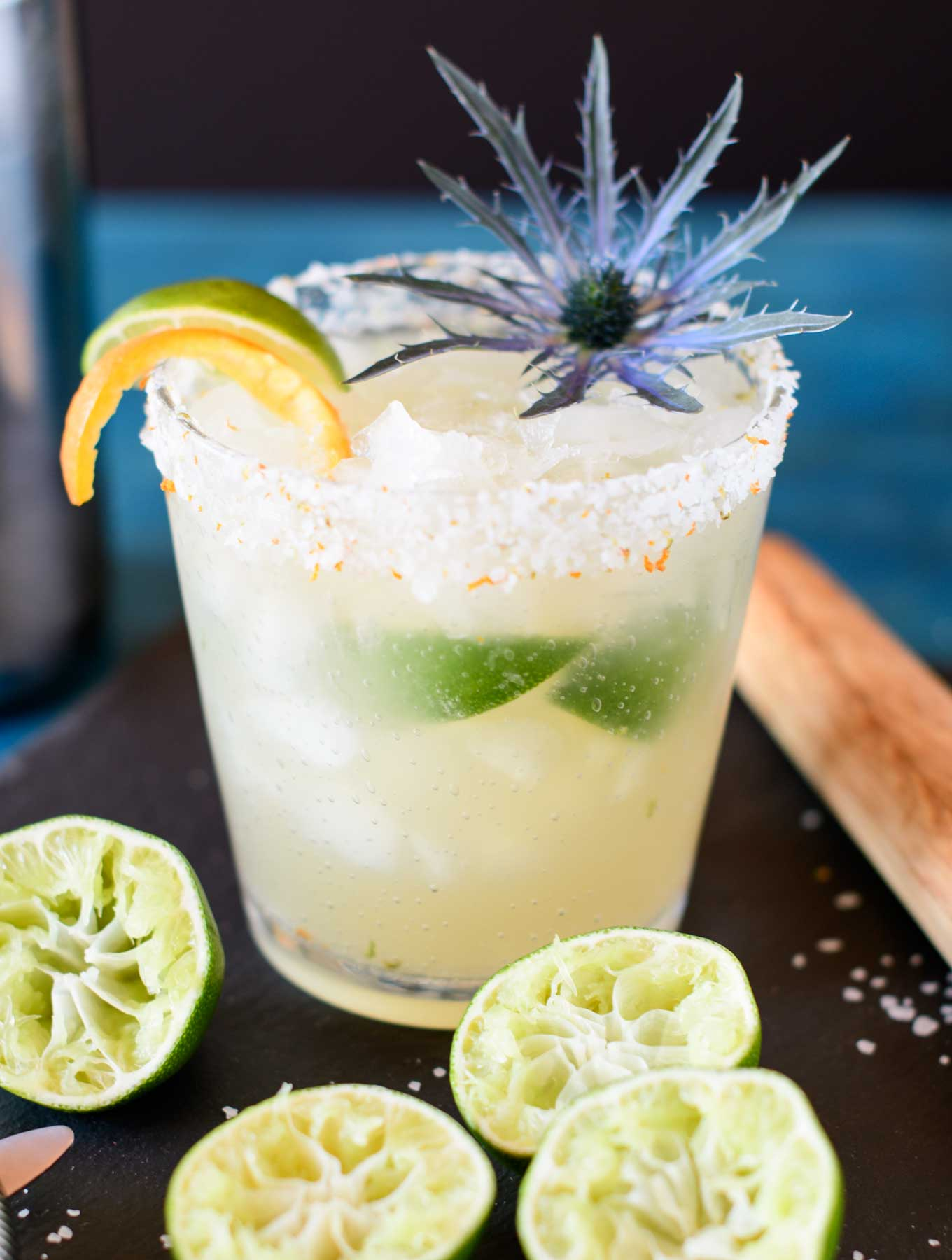 Brazilian margarita with muddled limes