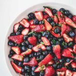 Bowl of lemon berry mint salad