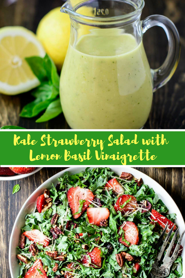 Kale Strawberry Salad with Lemon Basil Dressing