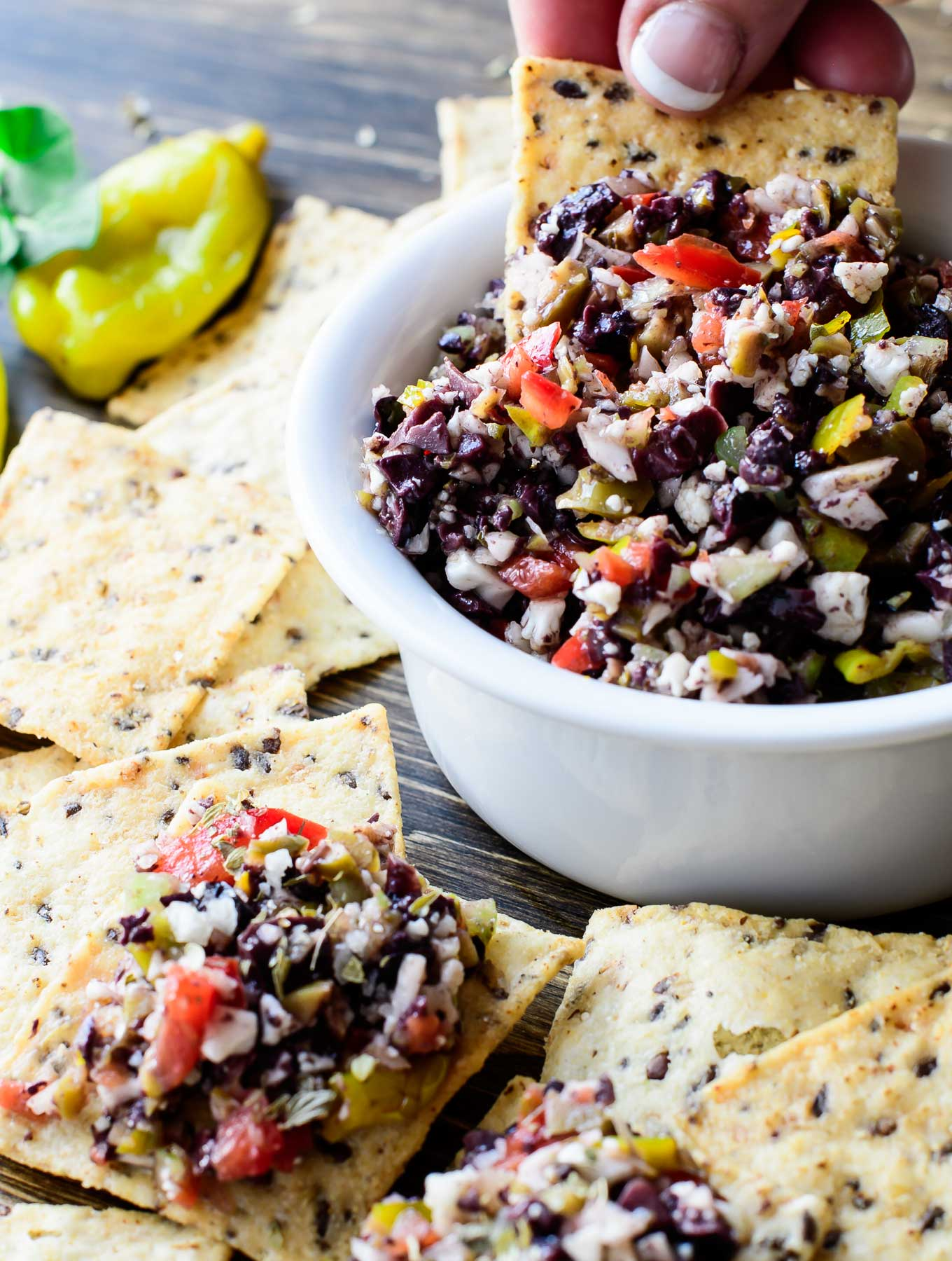 Olive Salsa with crackers