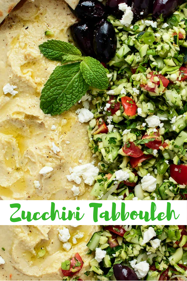 Platter of Zucchini Tabouleh with Hummus