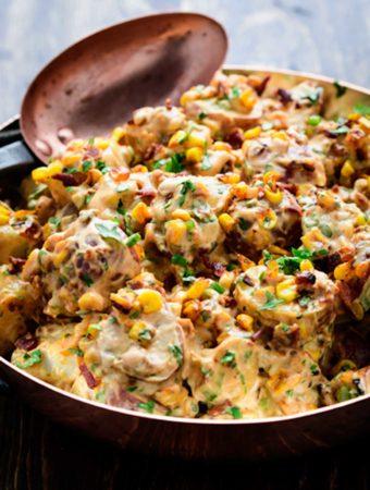 Copper bowl of smoky chipotle potato salad