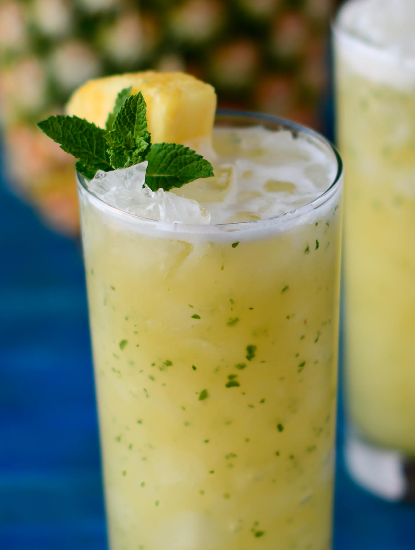 Close up of pineapple ginger faux-jito