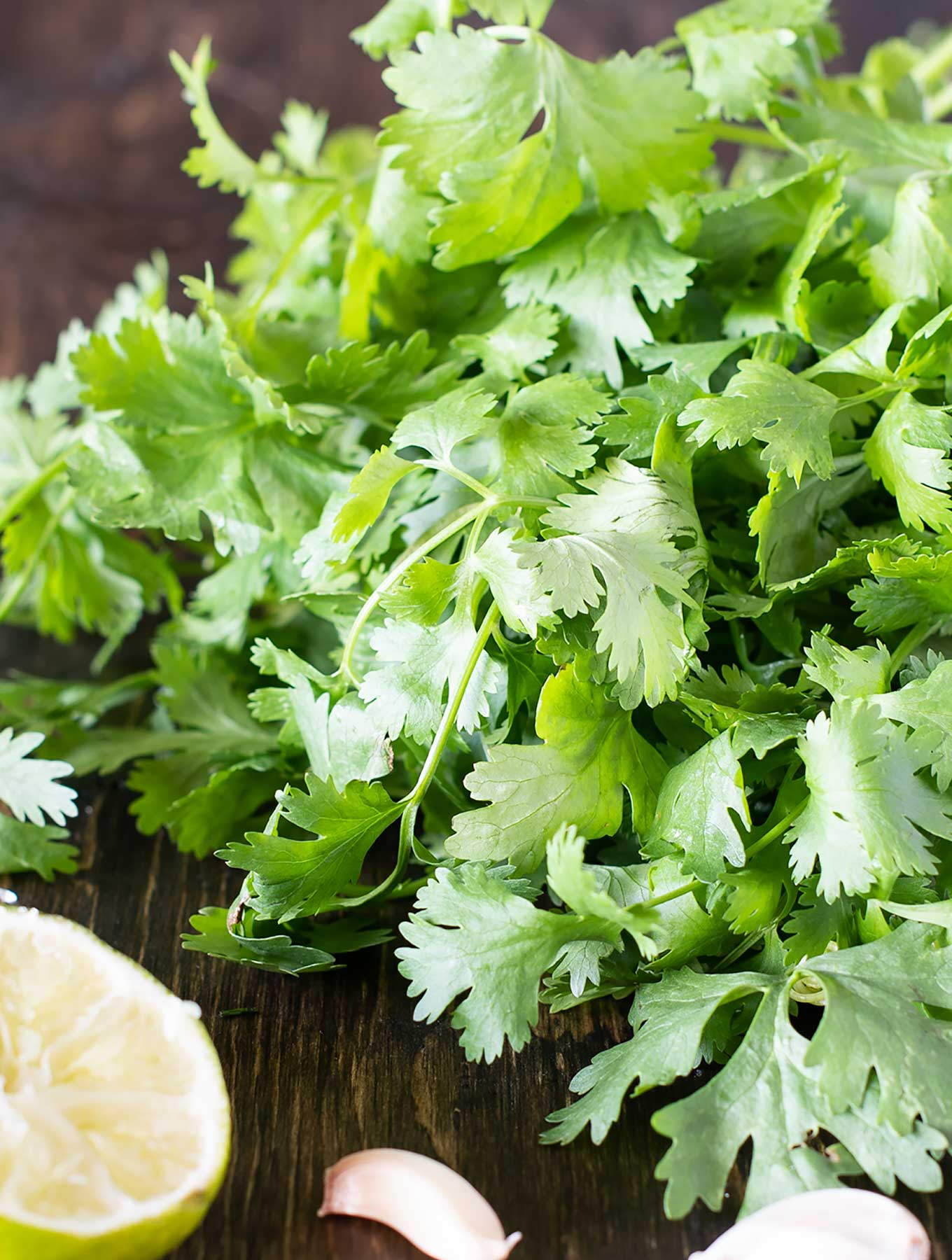Fresh cilantro with lime and garlic