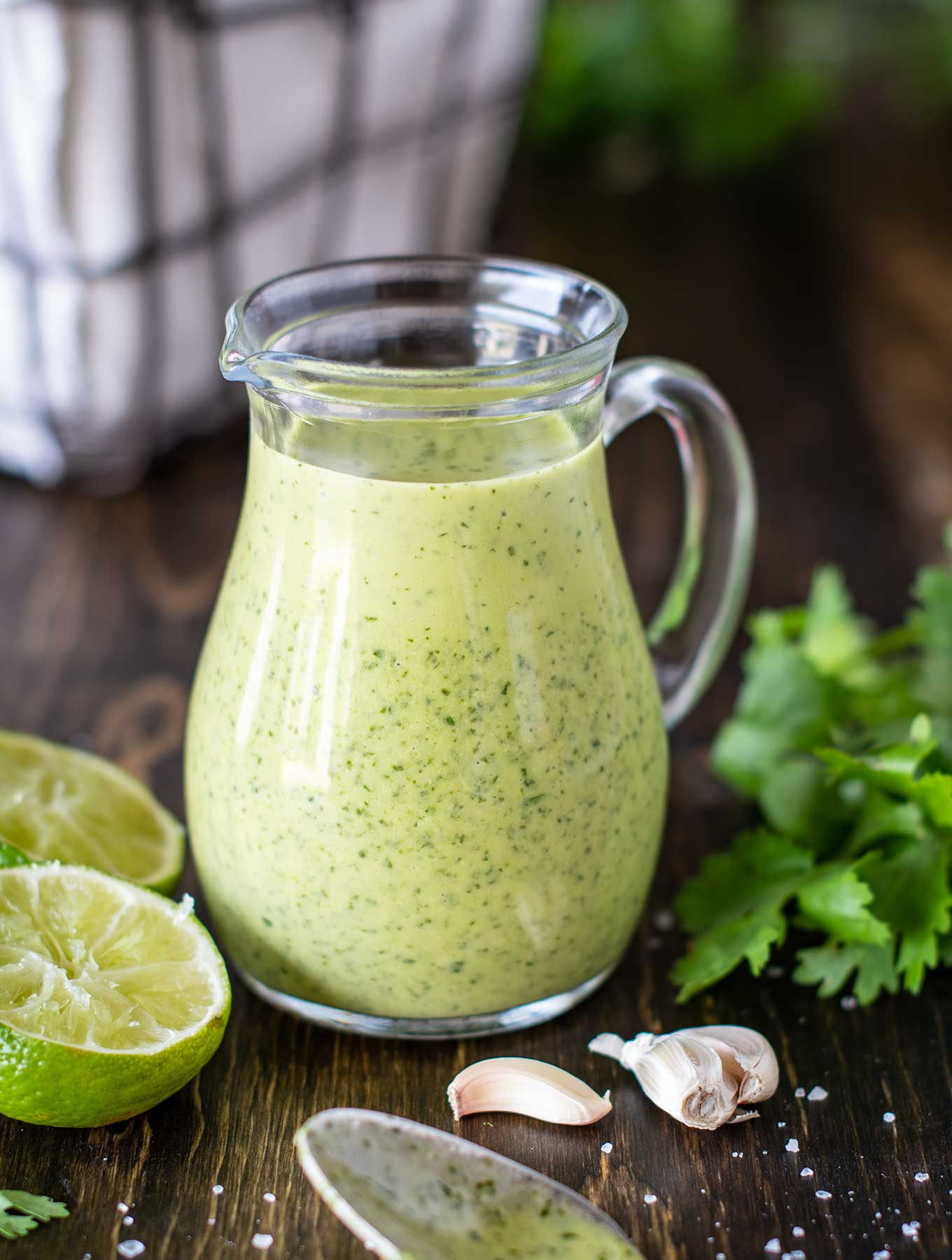 Mini pitcher of cilantro lime dressing