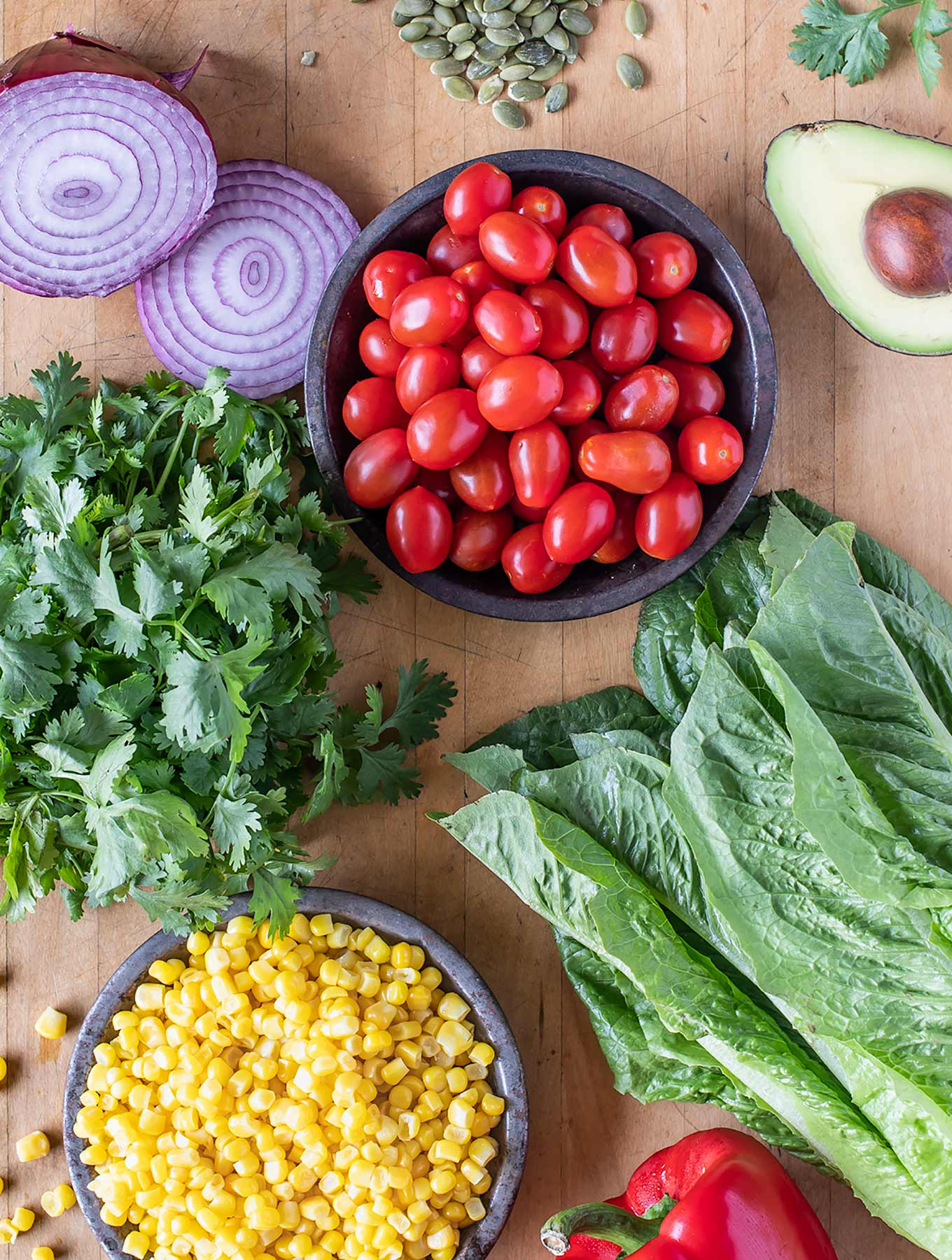 Assortment of fresh salad ingredients