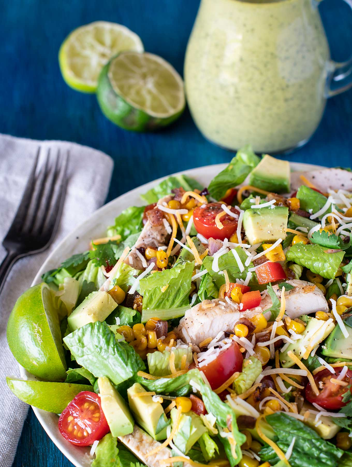 Bowl of Tex Mex Chicken Salad with Cilantro Lime dressing
