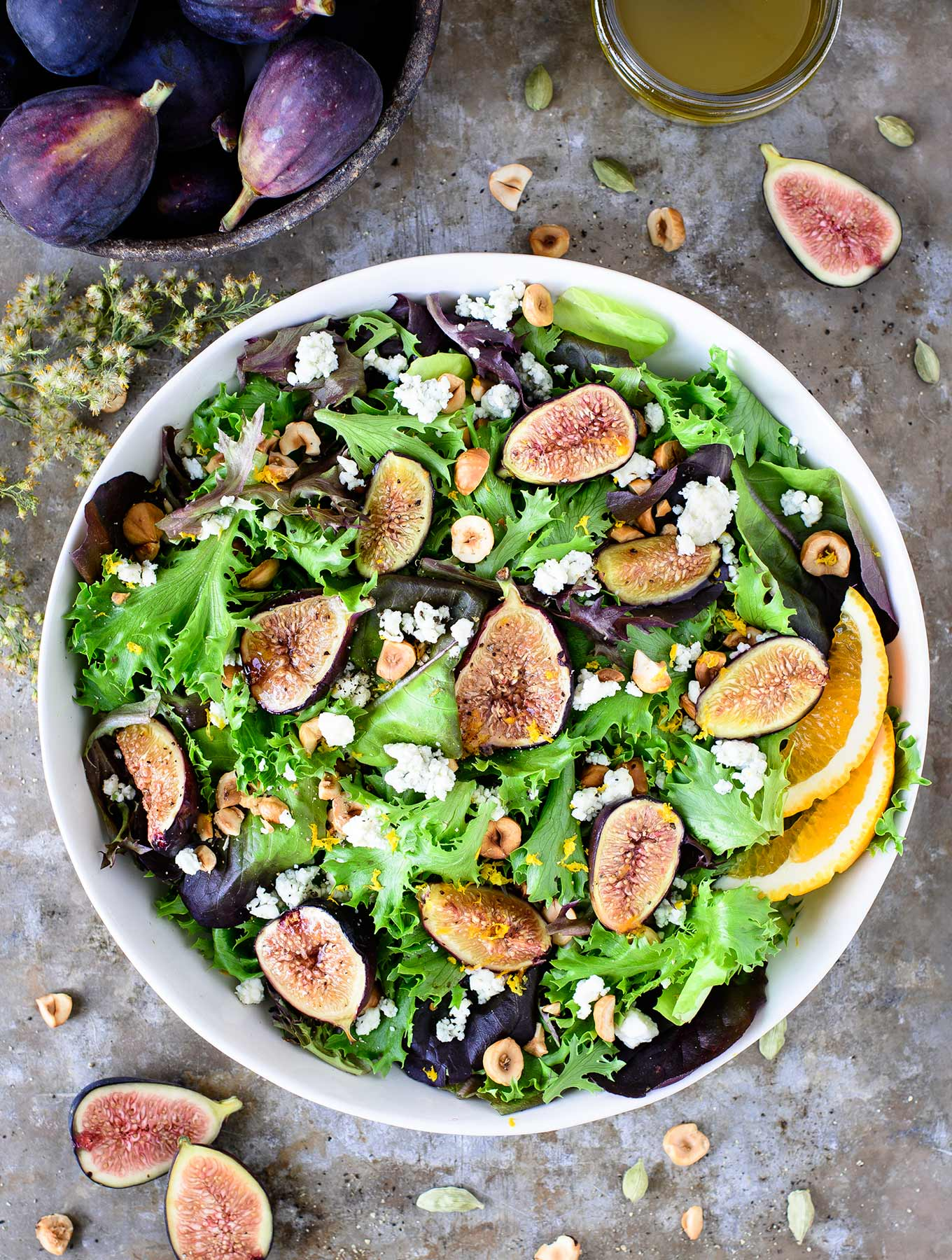 Bowl of fig & hazelnut salad
