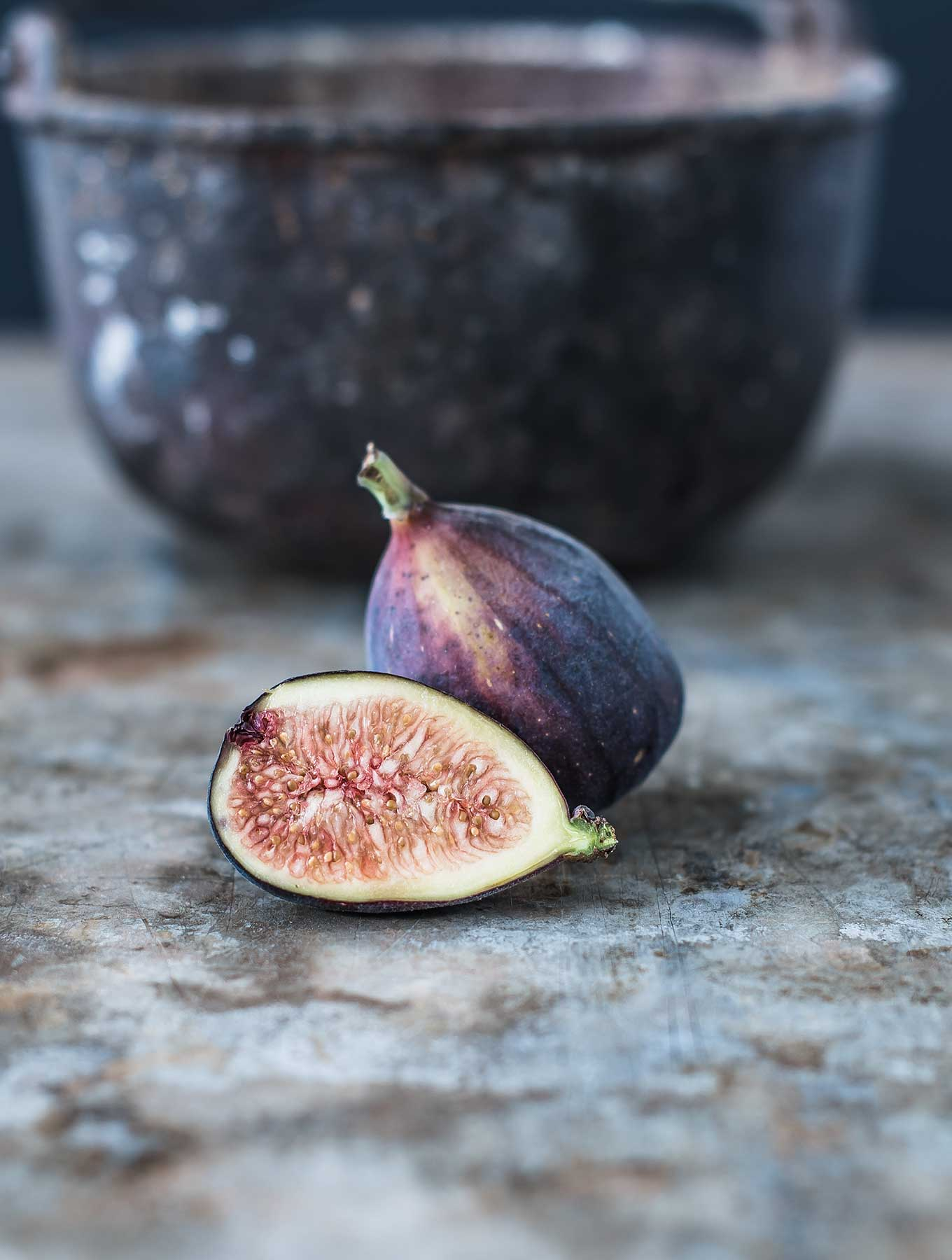 Fresh mission fig cut in half