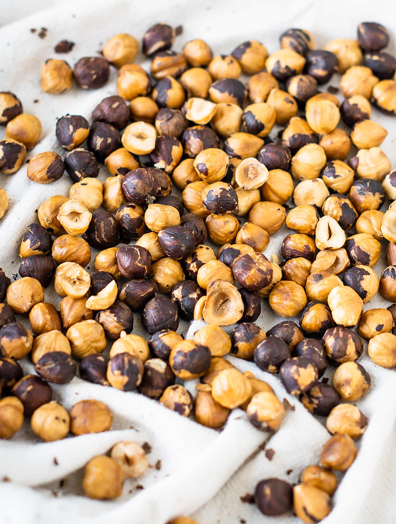 Toasted hazelnuts on a cloth