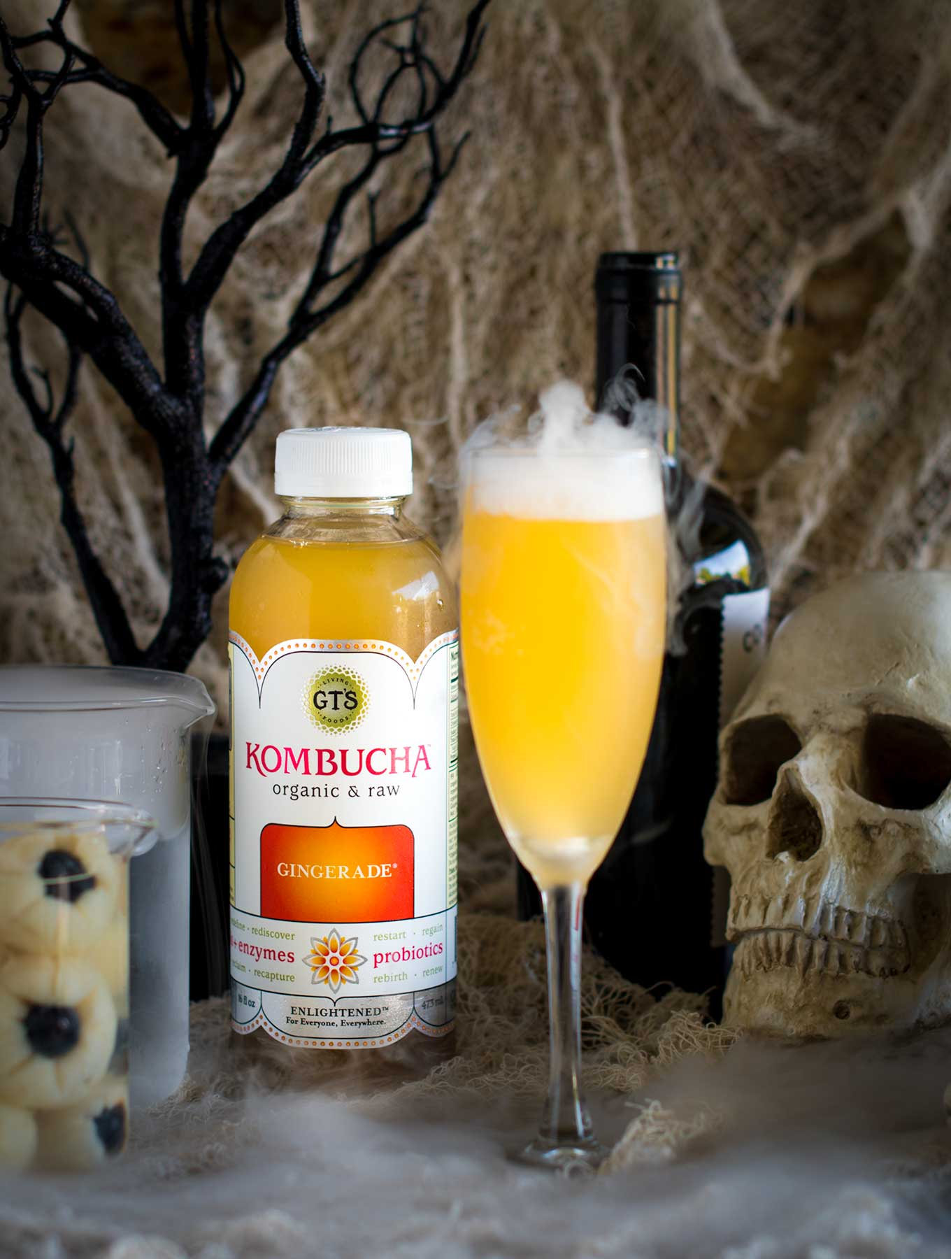A sparkling halloween cocktail made with kombucha