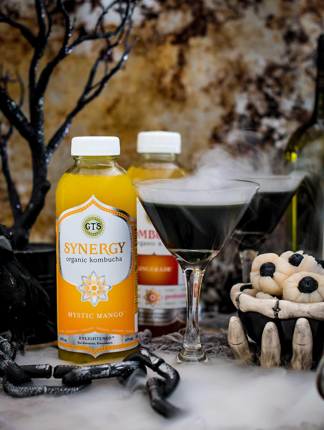 Halloween kombucha cocktails in a spooky scene