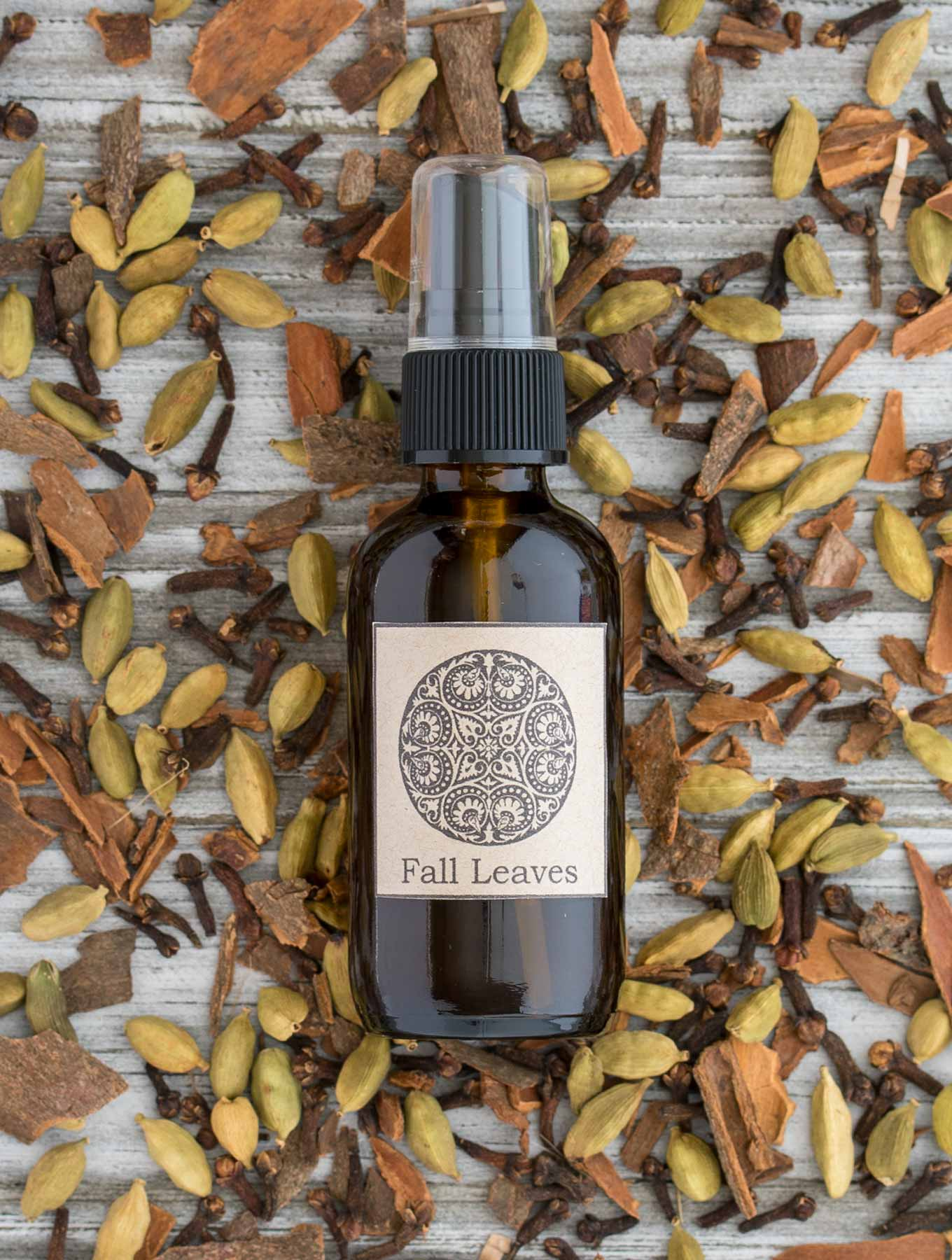 Bottle of fall room spray with spices