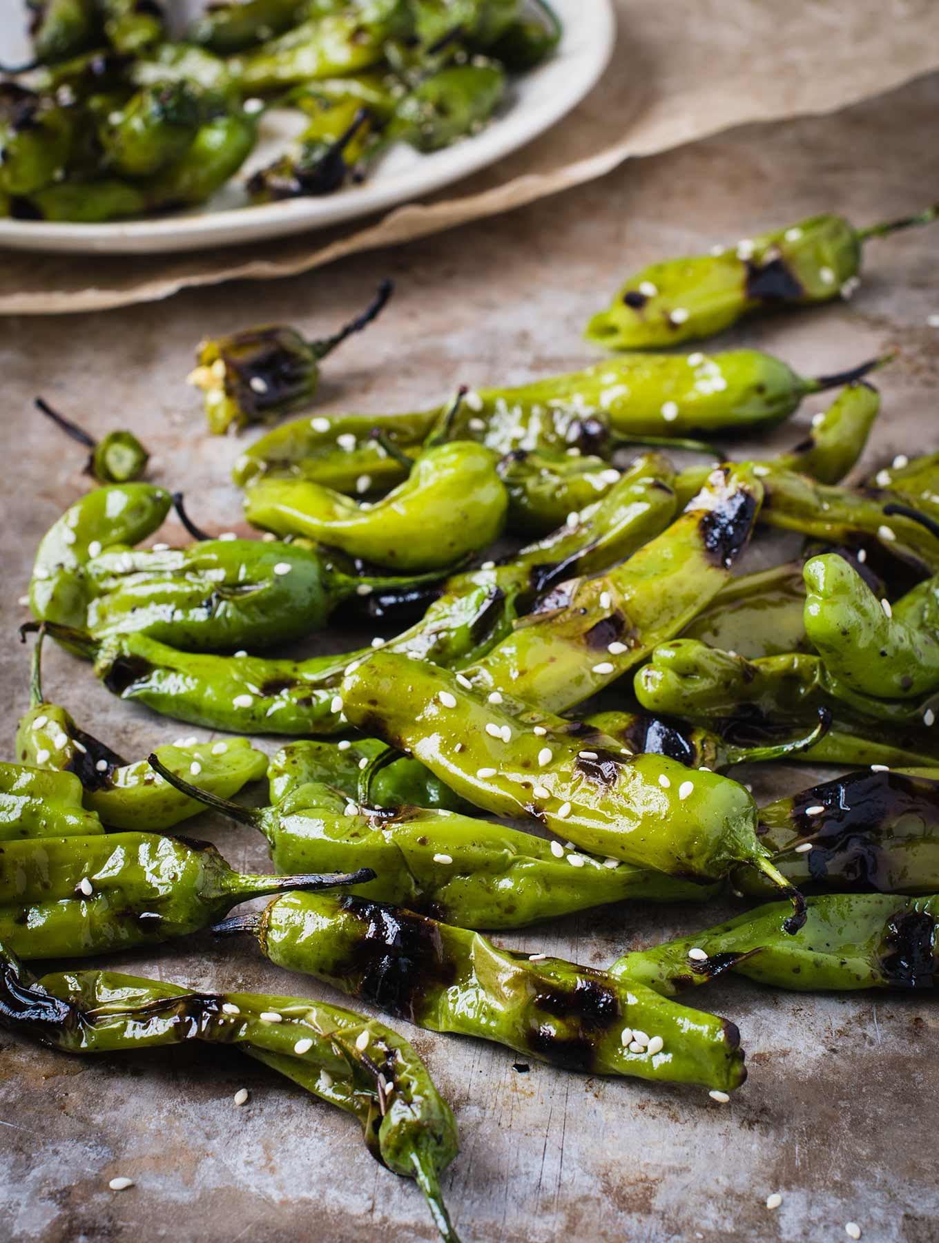 Shishito peppers on a pan