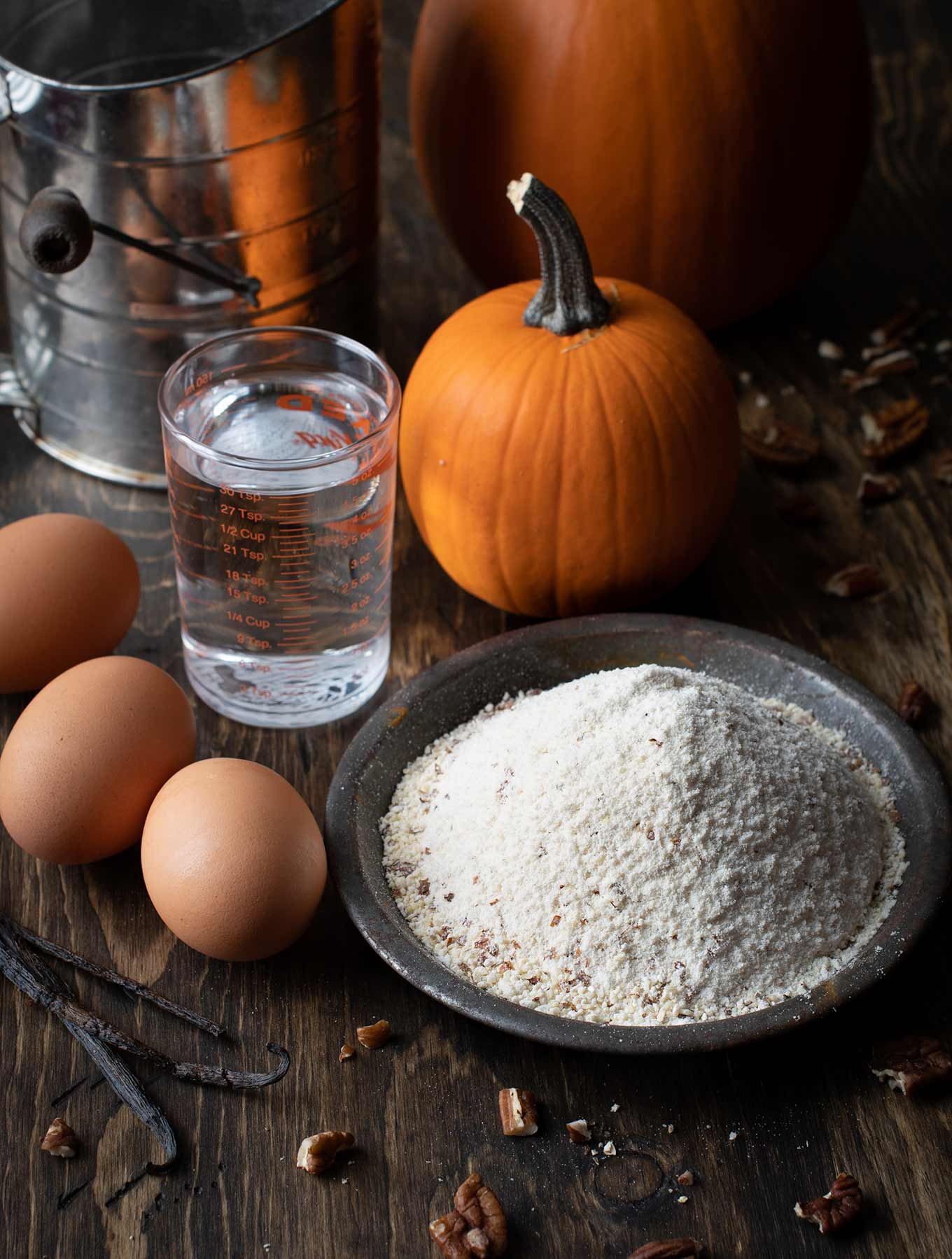 Ingredients for pumpkin spiced pancakes