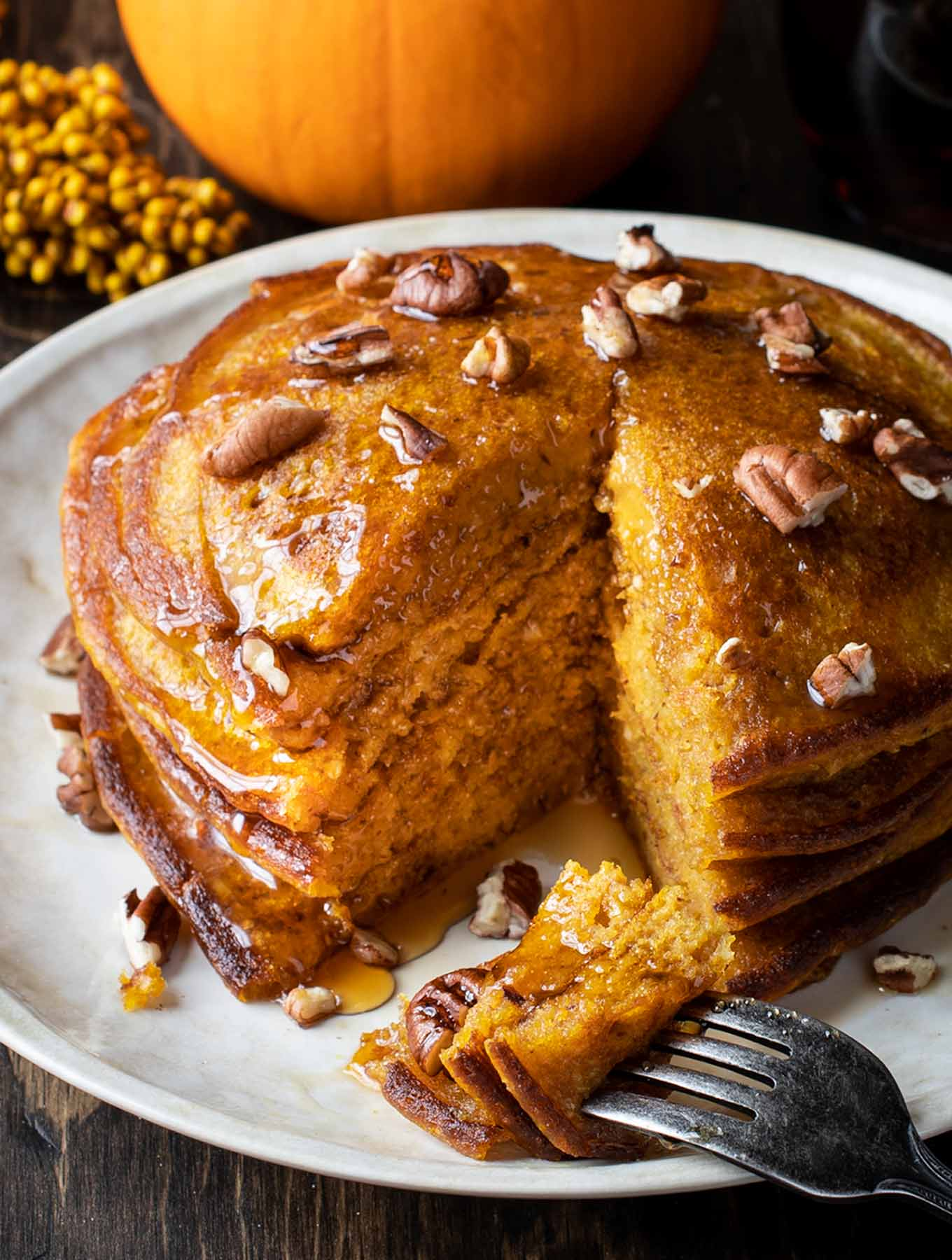 Stack of pumpkin spiced pancakes