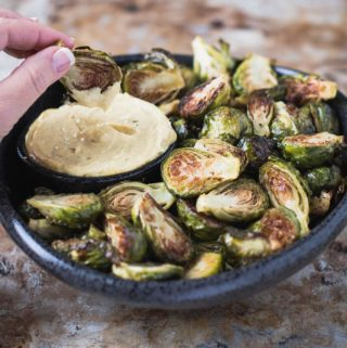Roasted brussels sprouts with curry aioli
