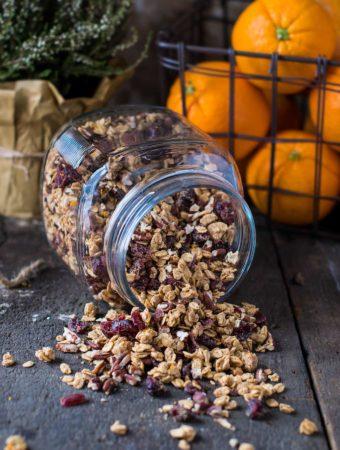 Maple cardamom granola in a glass jar
