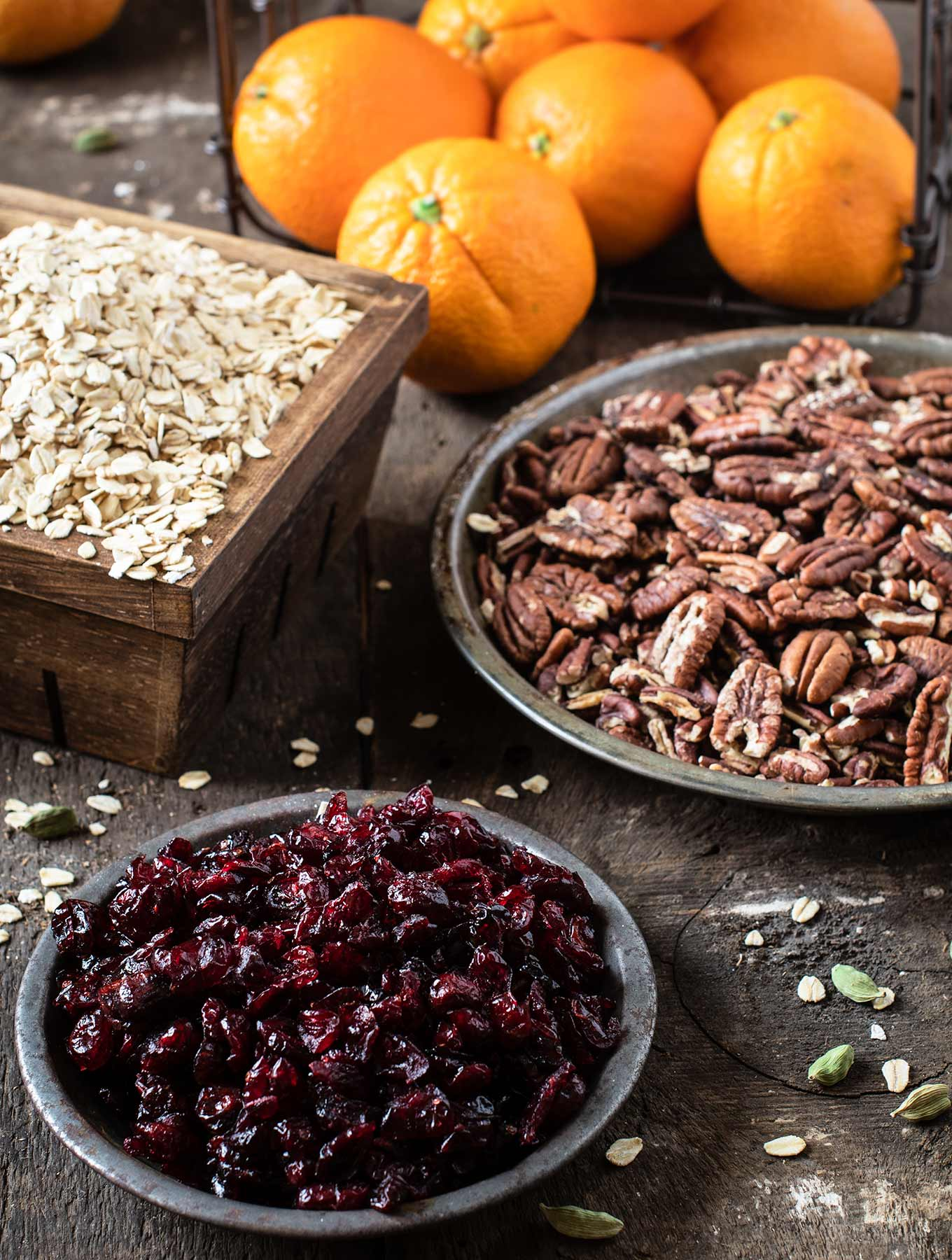Oranges, oats, pecans and cranberries