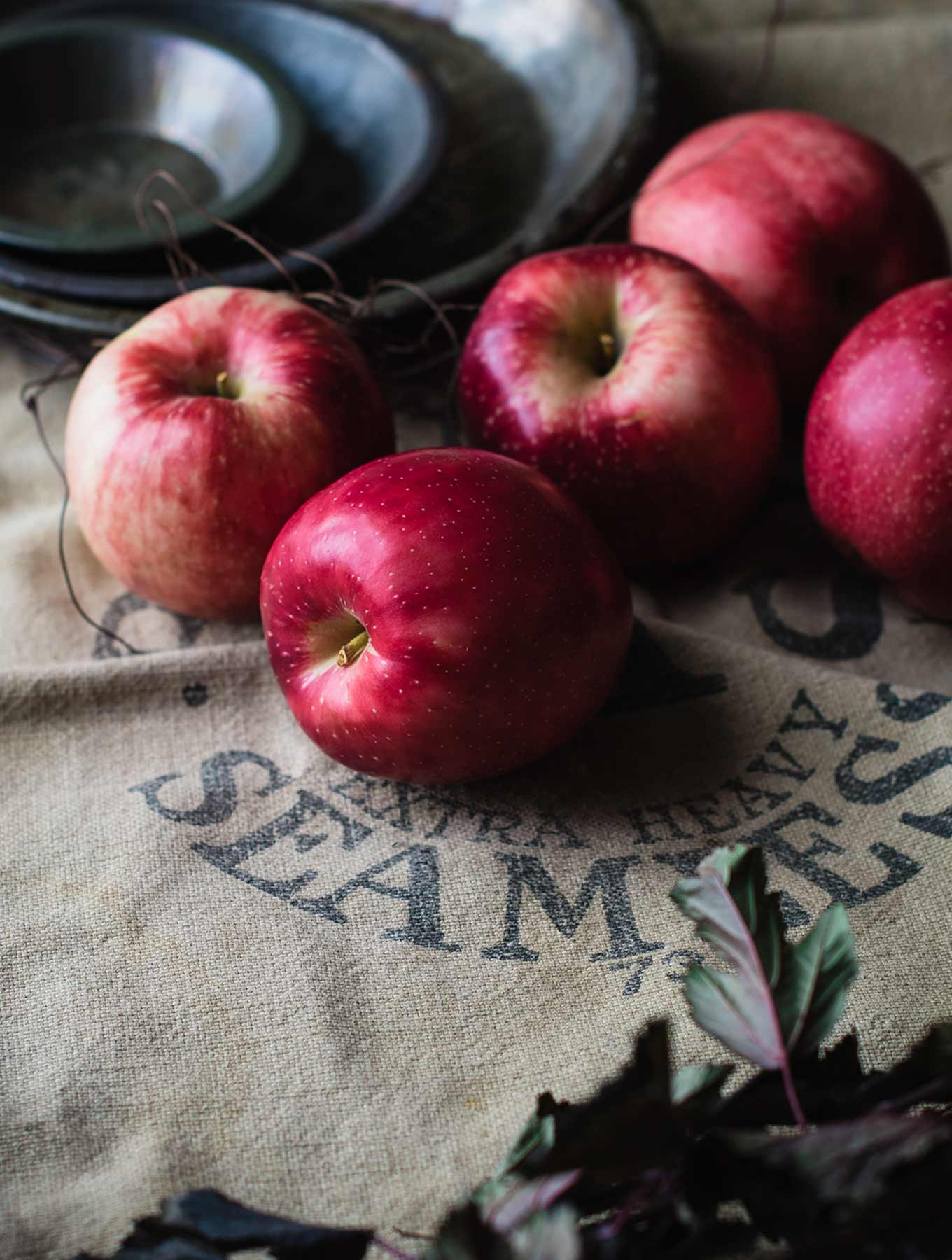 Apples on a burlap sack