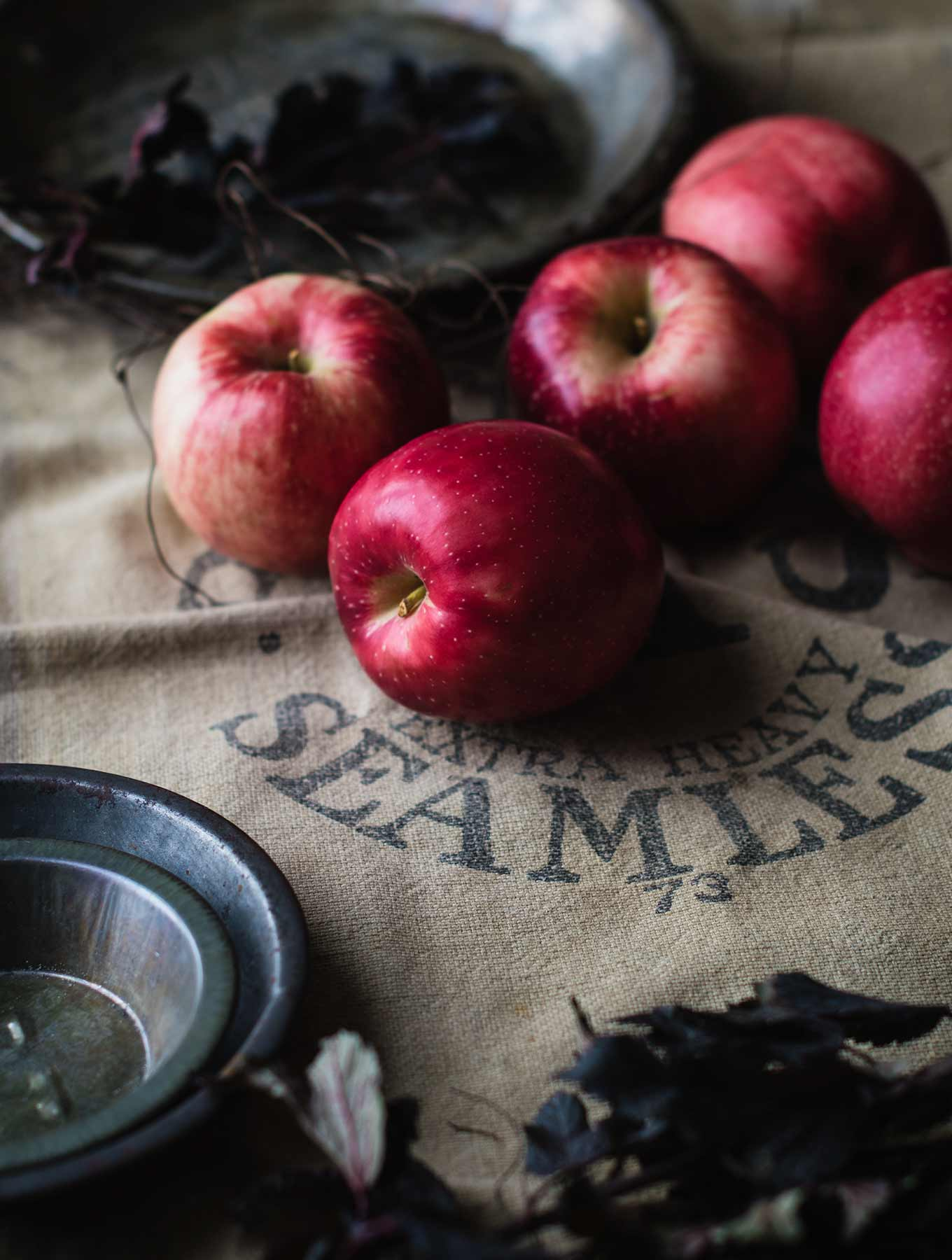 Apples on a burlap sack