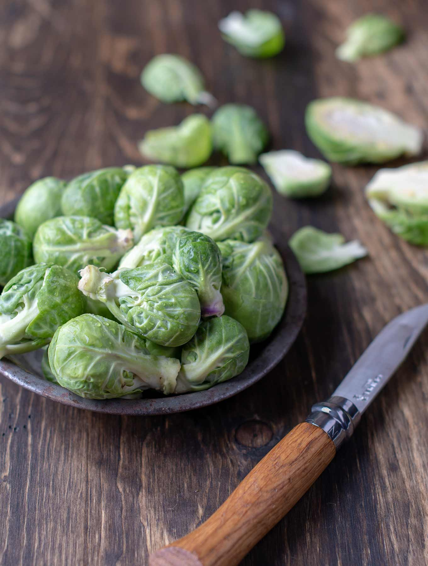 Raw brussels sprouts in a tin