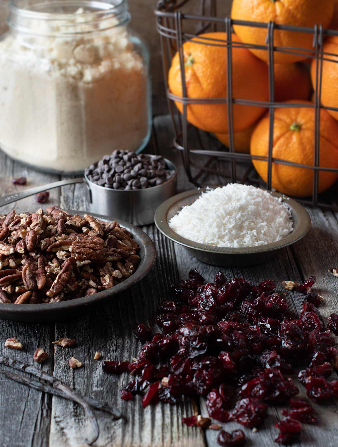 Ingredients for orange cranberry chocolate bars