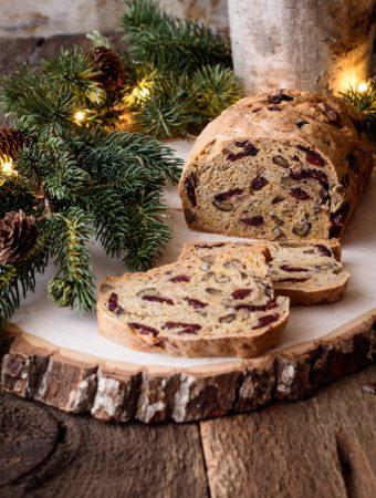 Loaf of cranberry kombucha pecan bread