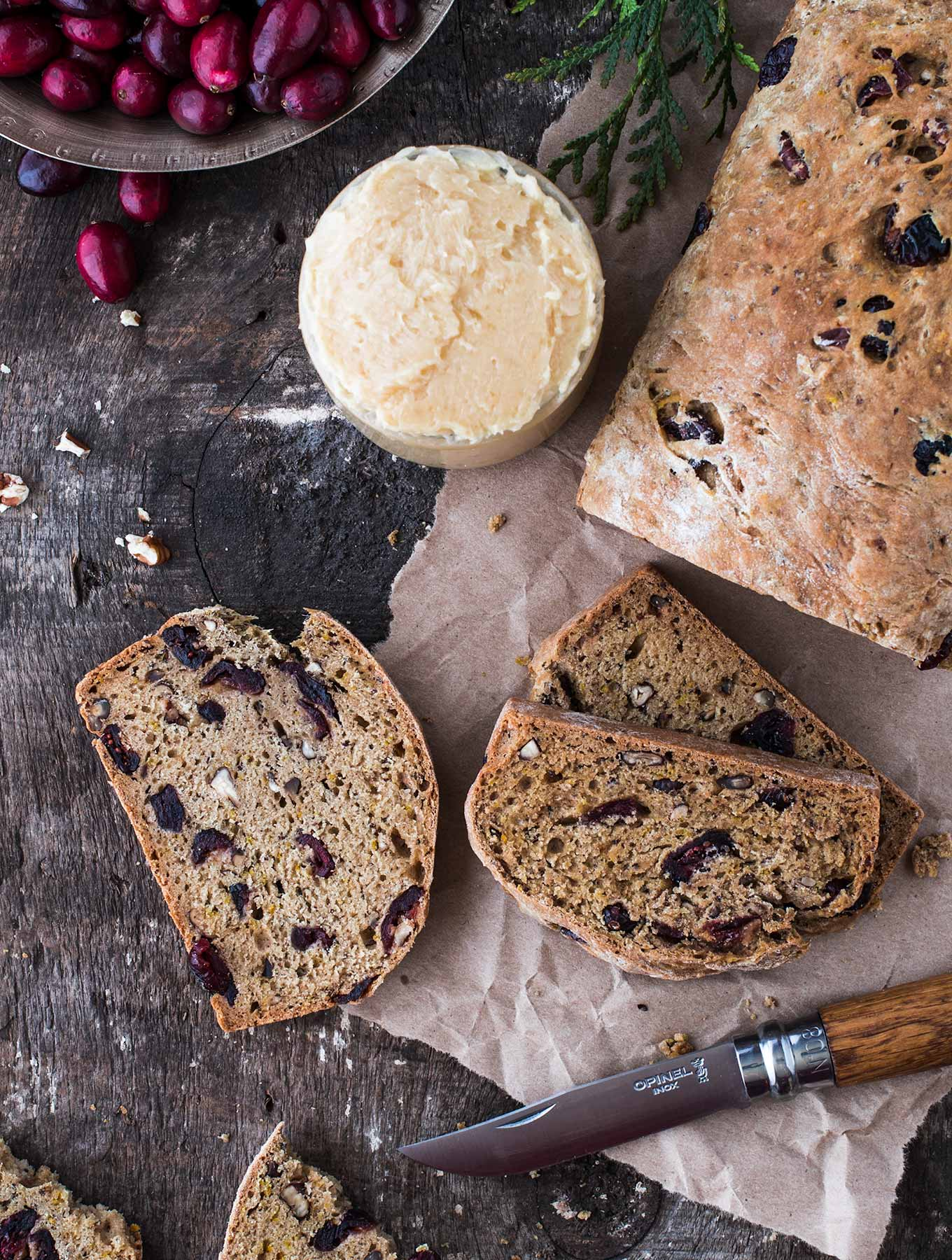Cranberry kombucha pecan bread with candied ginger butter
