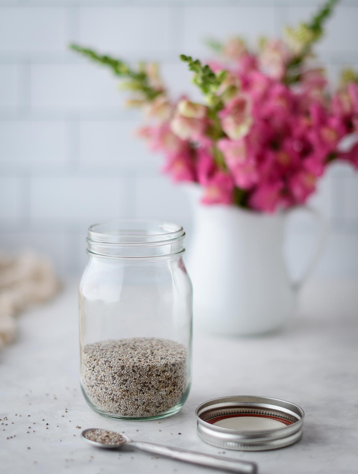 Jar of chia seeds