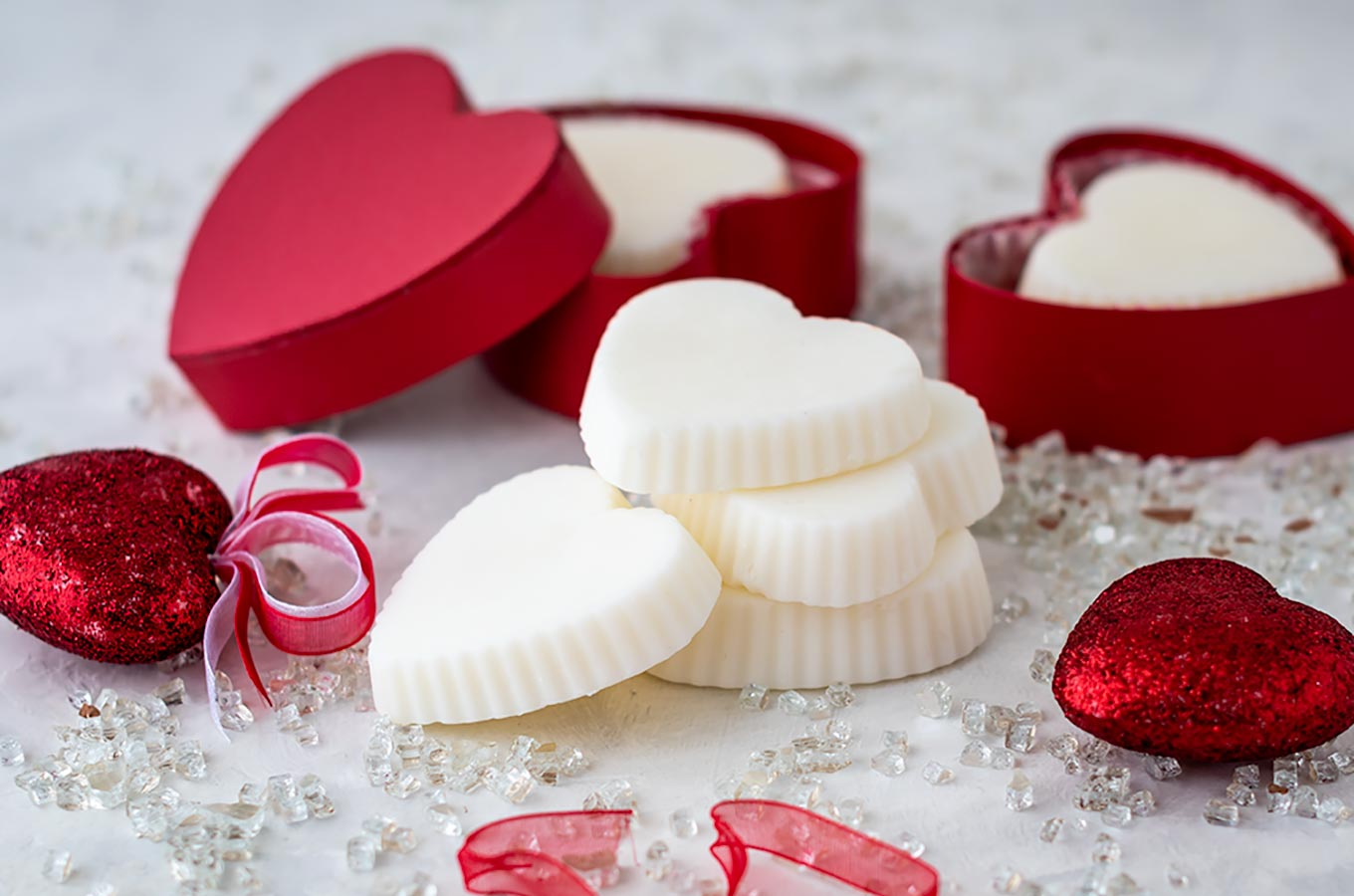 Stack of heart shaped lotion bars