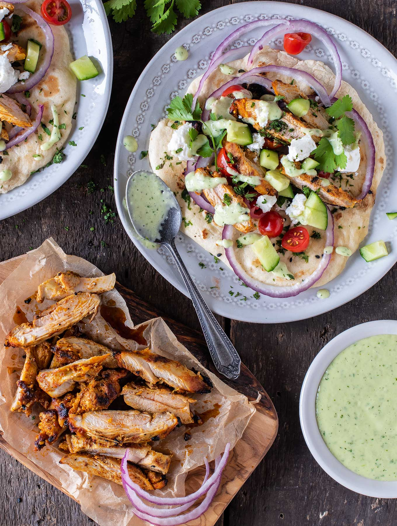 Chicken shawarma wraps on naan bread