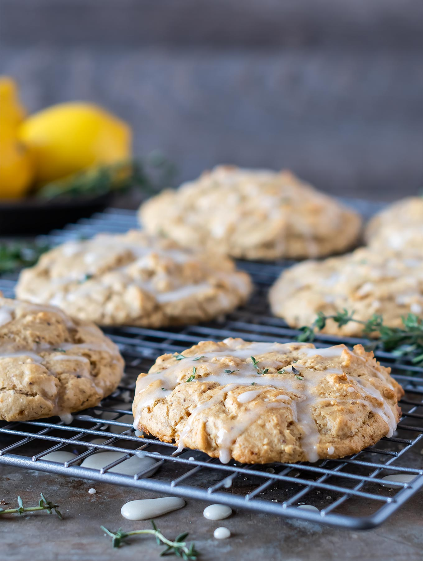 Close up of lemon thyme scones