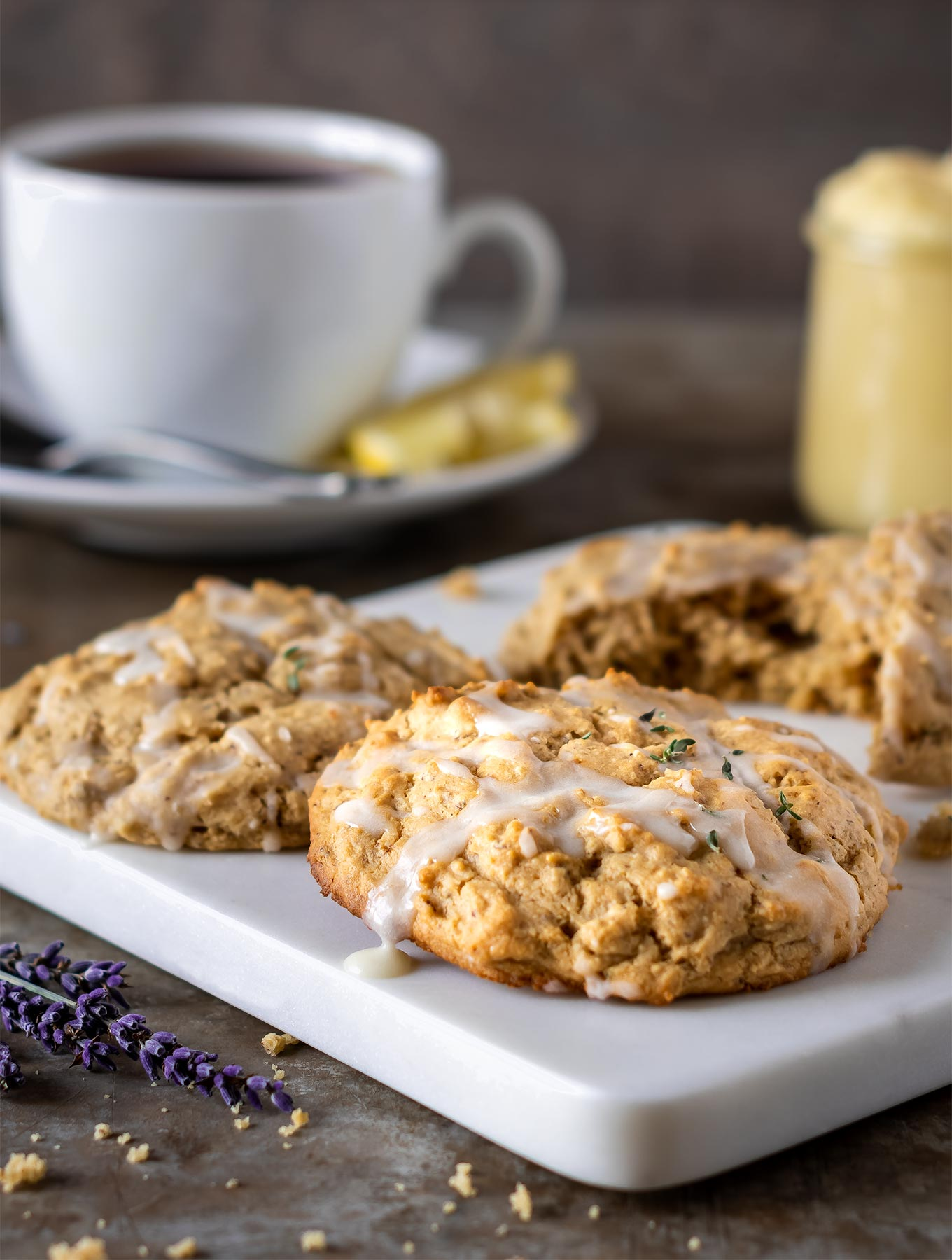 Plate of lemon thyme scones with a cup of tea