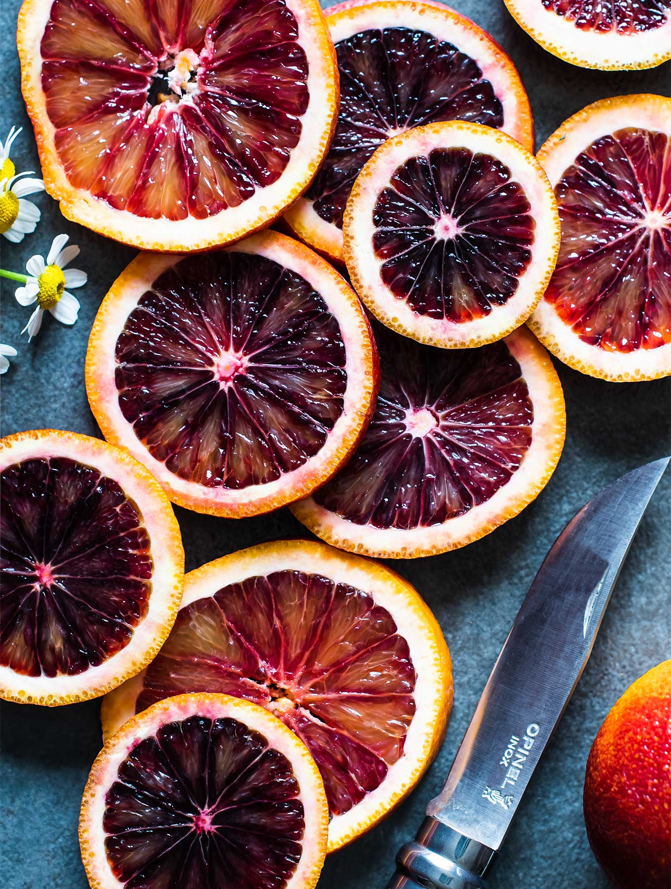 overhead shot of blood oranges