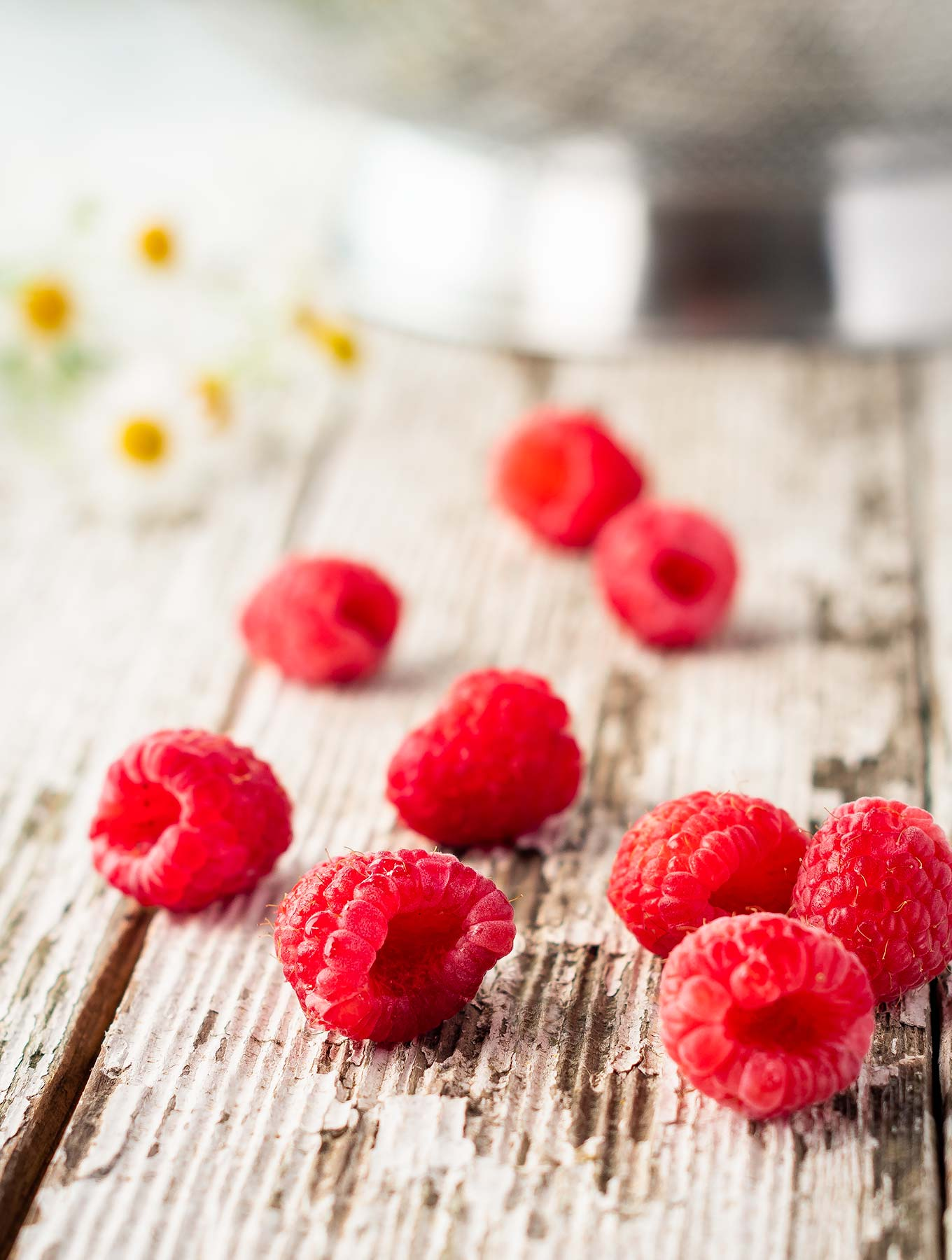 Close up of fresh raspberries